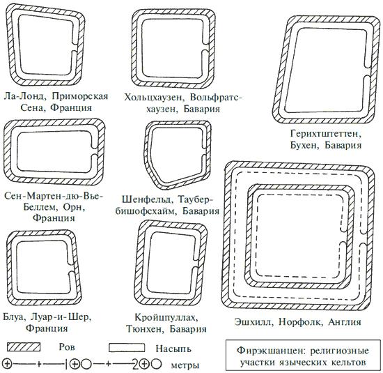 Планы фирэкшанцен – мест языческого культа, окруженных земляными оградами